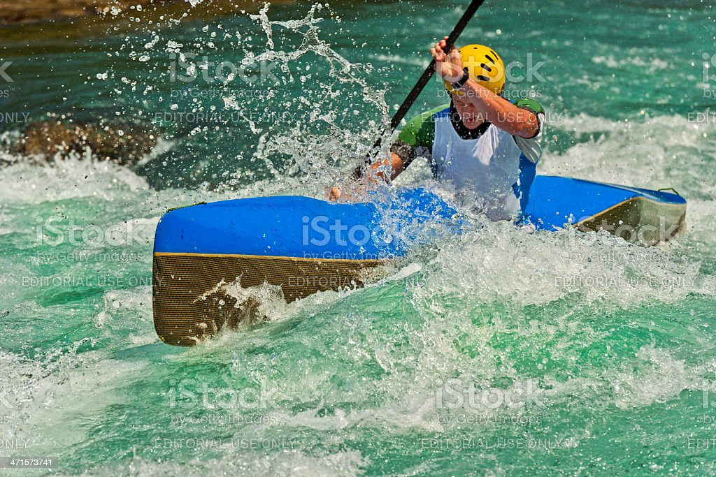 Active Kayaking on Soca River Slovenia Europe royalty-free stock photo