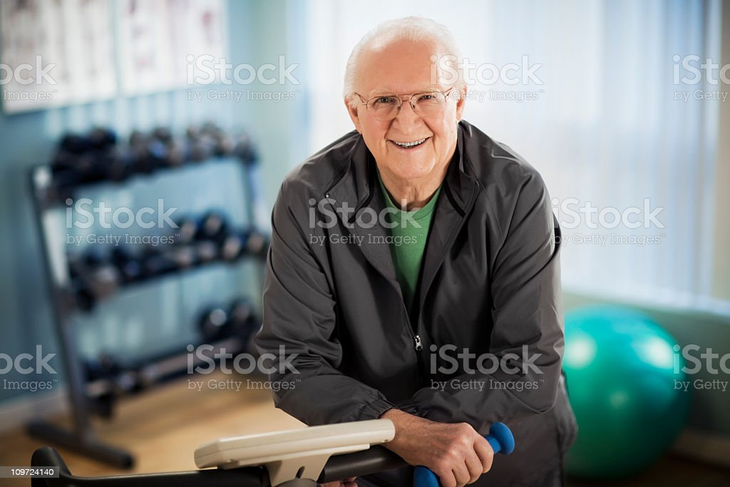Active Male Senior in Gym stock photo