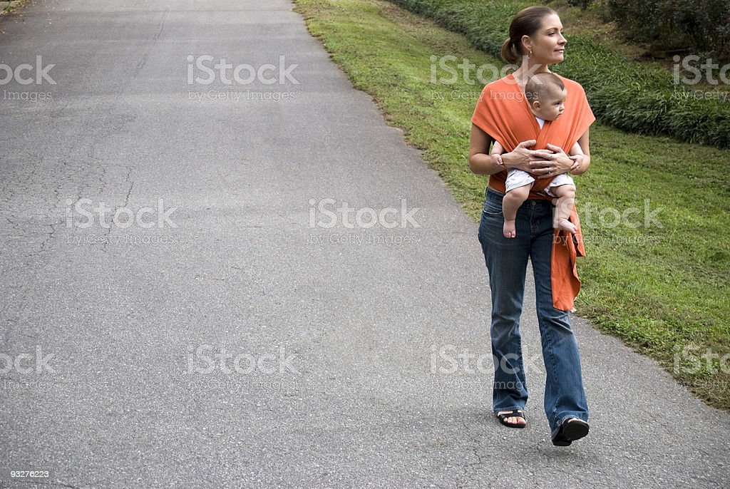 Active Mother and Baby Sling / Carrier stock photo