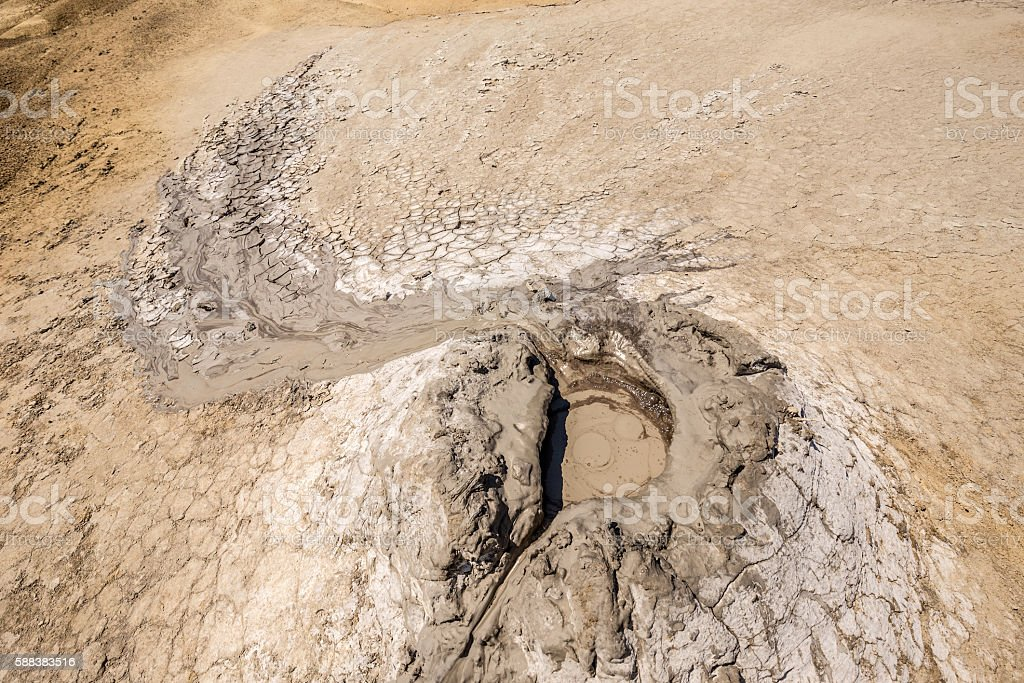 Active mud volcano stock photo
