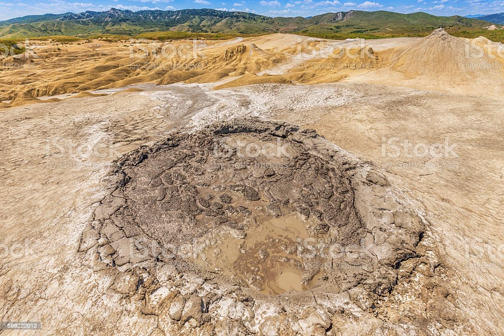 Active mud volcanoes stock photo