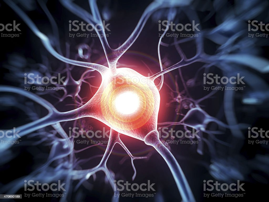 active nerve cell illustration stock photo