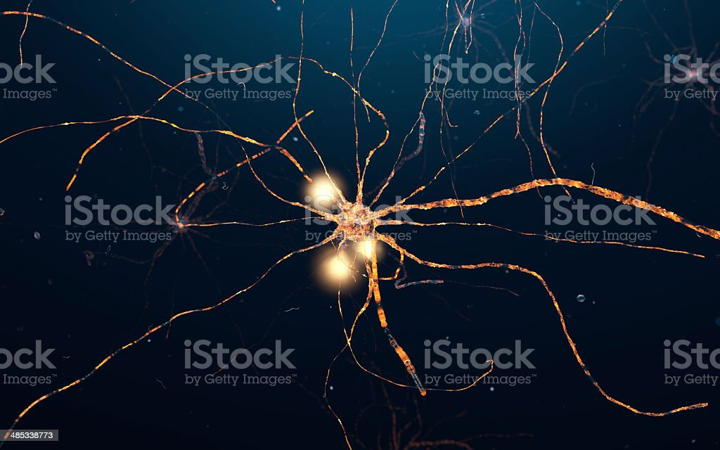 Active Neuron cells, synapse network stock photo