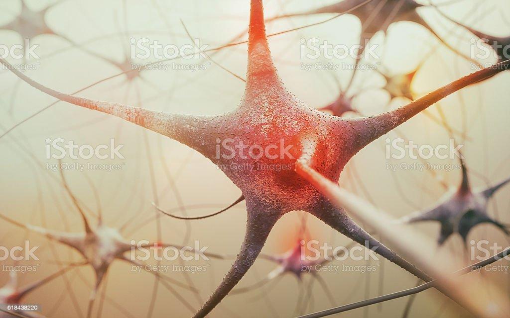 active neurone - 3D rendering stock photo