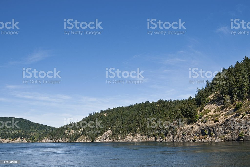 Active Pass Between Mayne and Galiano Islands royalty-free stock photo