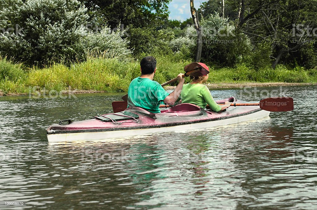 Active people in kayak royalty-free stock photo