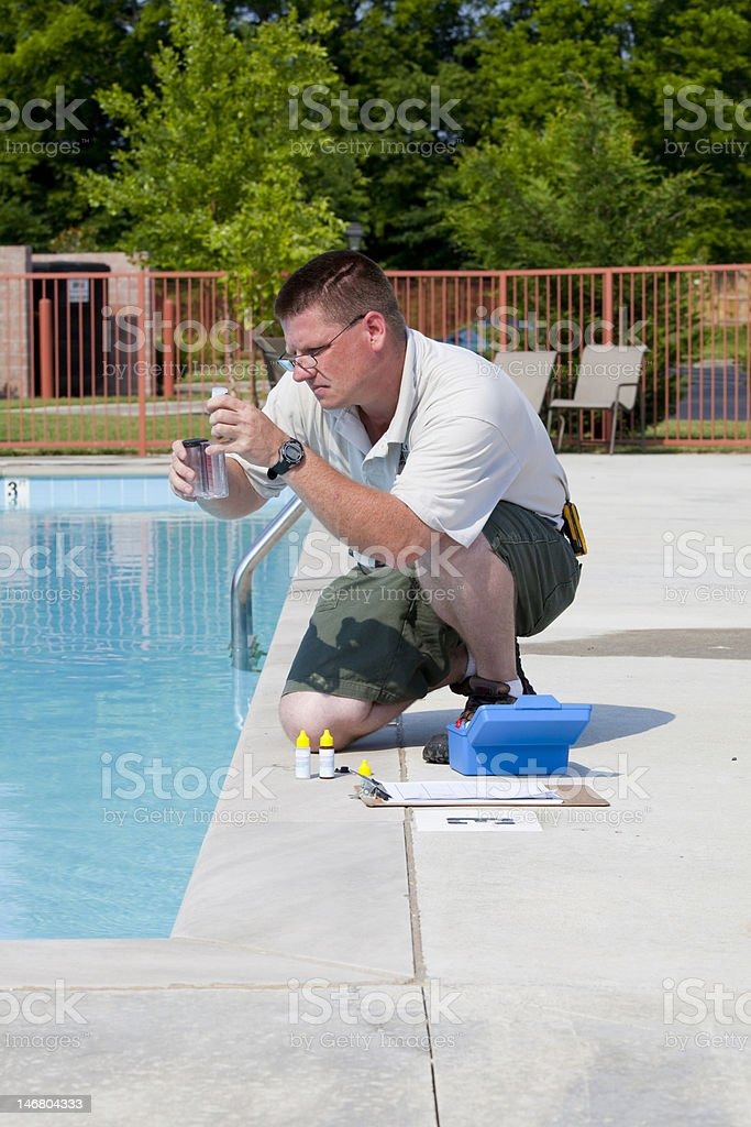 Active Pool  Chemical Testing royalty-free stock photo