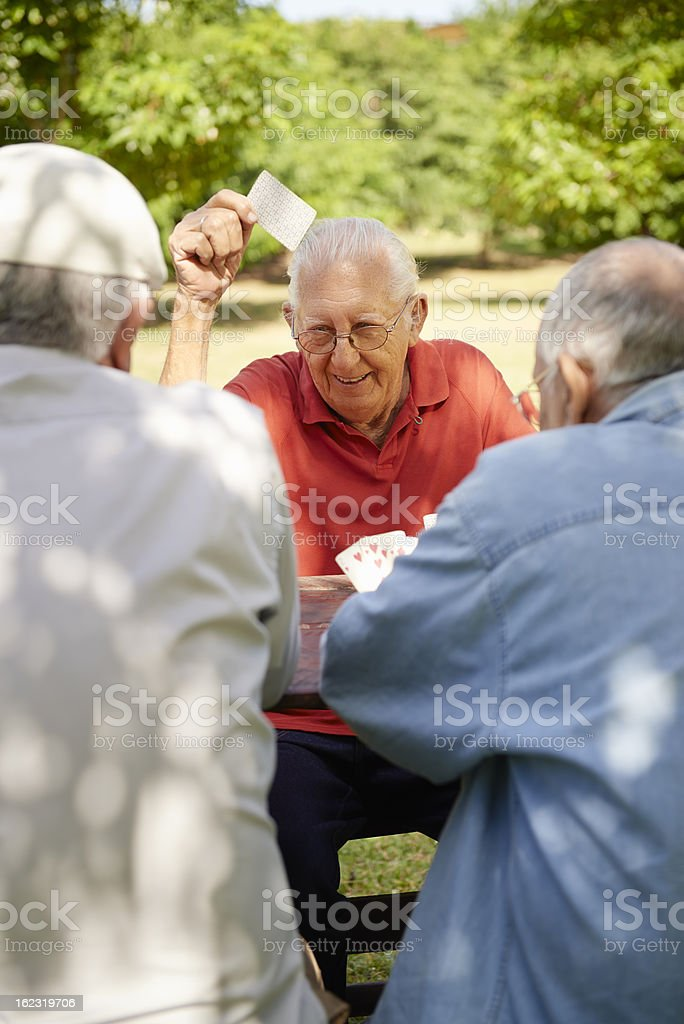 Active retired people, two senior men playing chess at park royalty-free stock photo
