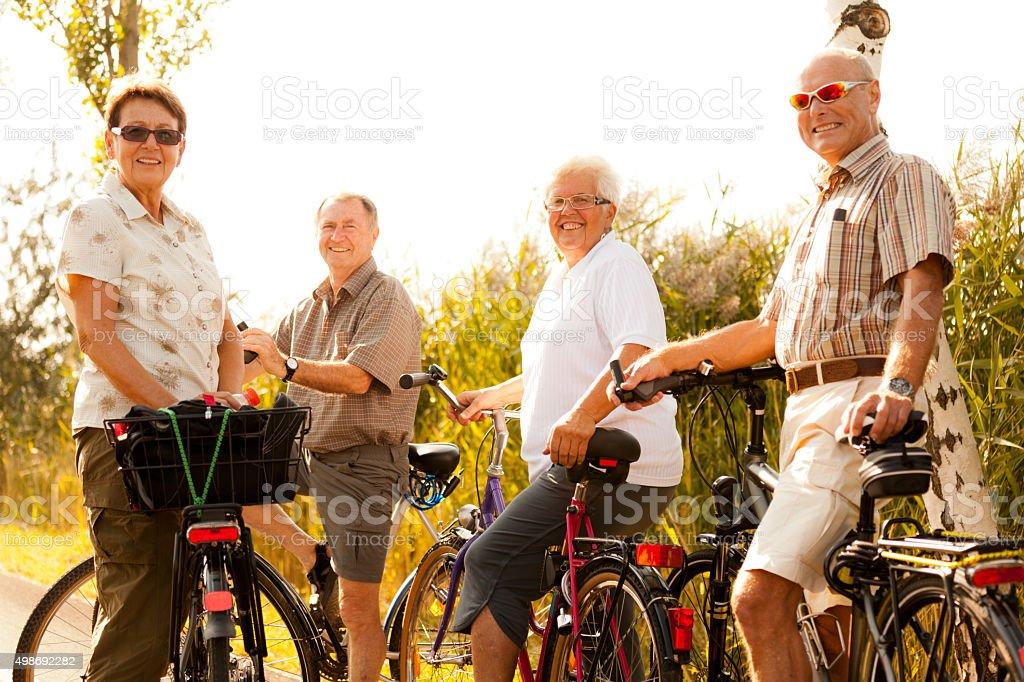 active retirees on bicycles stock photo