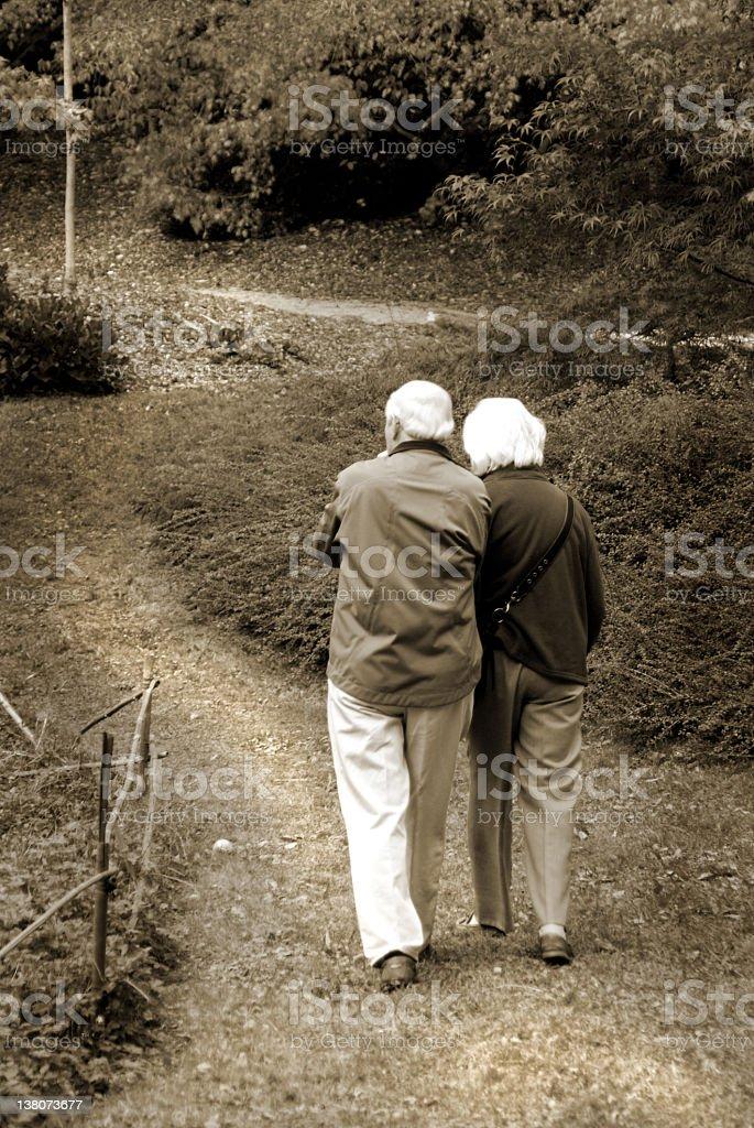 Active Retirement Senior Couple Walking royalty-free stock photo