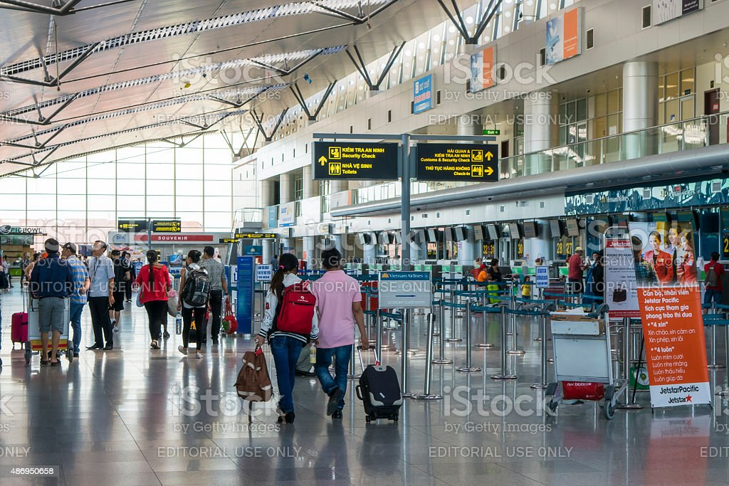 Active scene at arrival terminal in Da nang International Airport stock photo