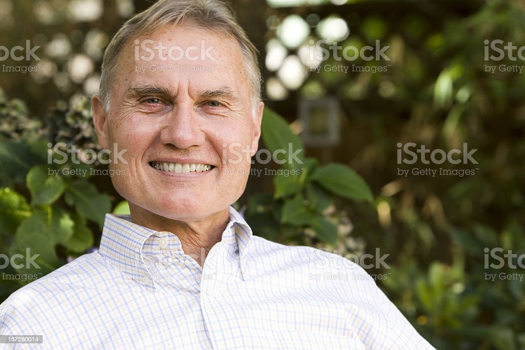 Active Senior Citizen Male Portrait Outside, Smiling, Copy Space royalty-free stock photo