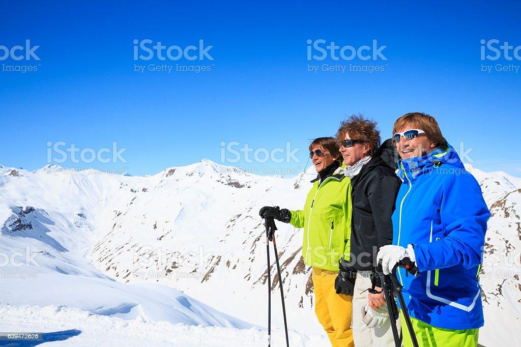 Active senior   Friends Senior men snow skiers At the top stock photo
