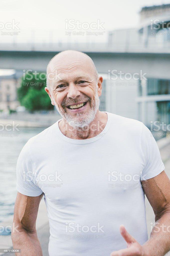 Active Senior Male Jogging stock photo