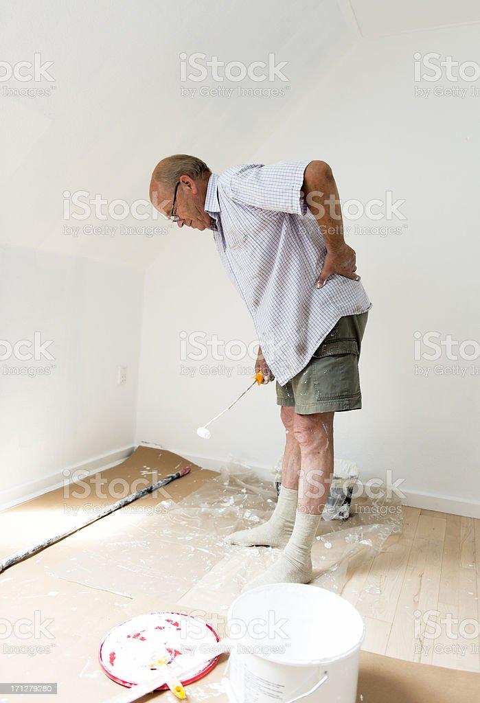 Active senior man is not feeling well stock photo