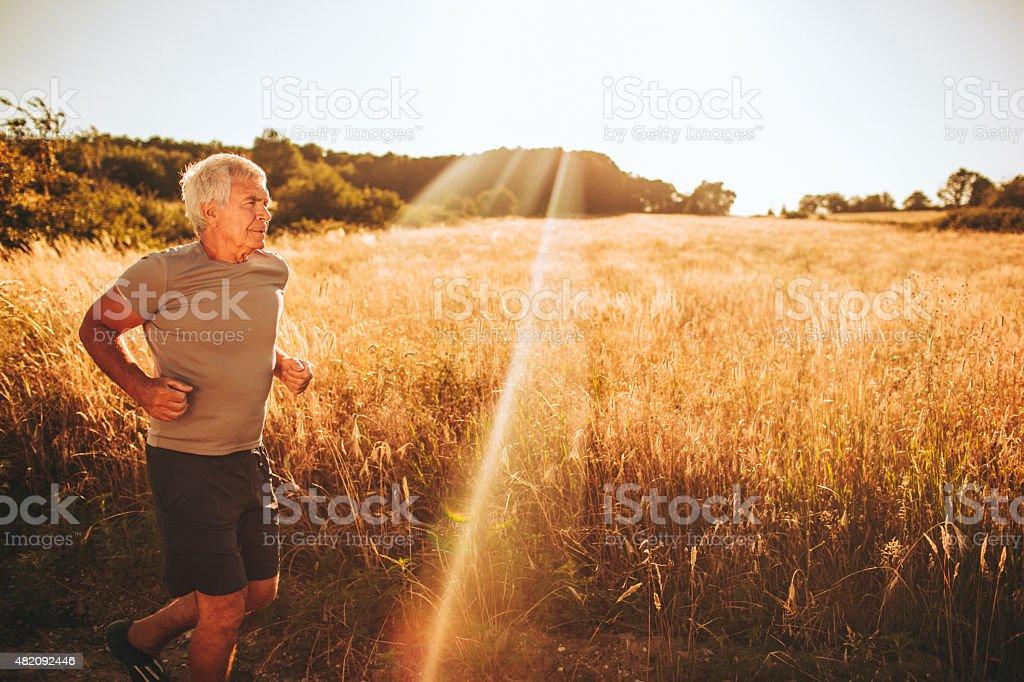 Active senior man stock photo