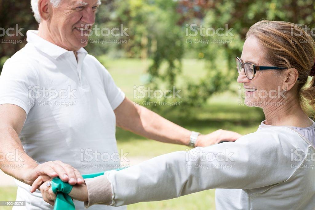 Active senior marriage improving condition stock photo