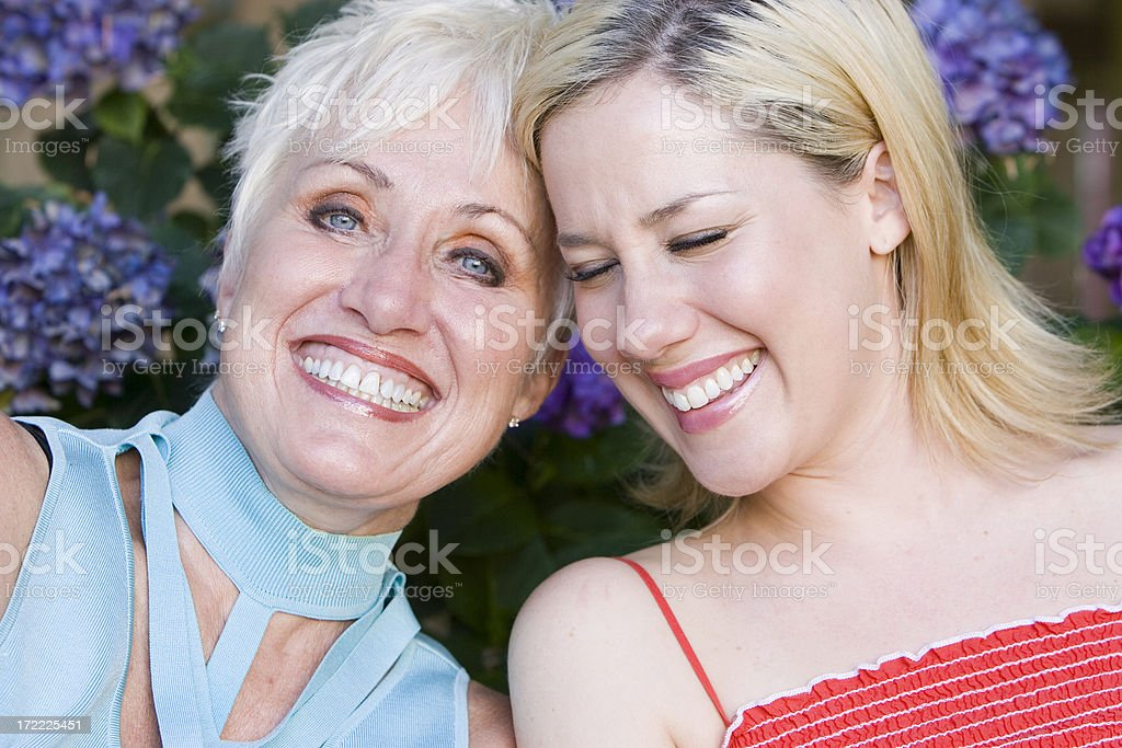 Active Senior Mother with Daughter Portrait, Outdoors, Laughing royalty-free stock photo