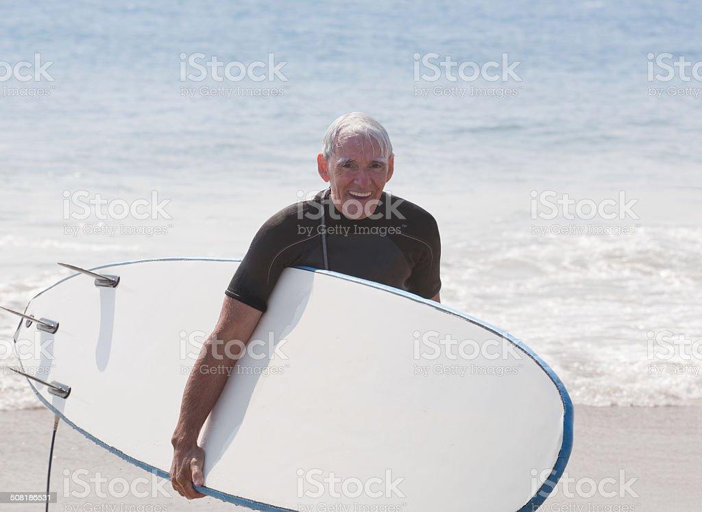 Active Senior Surfer royalty-free stock photo