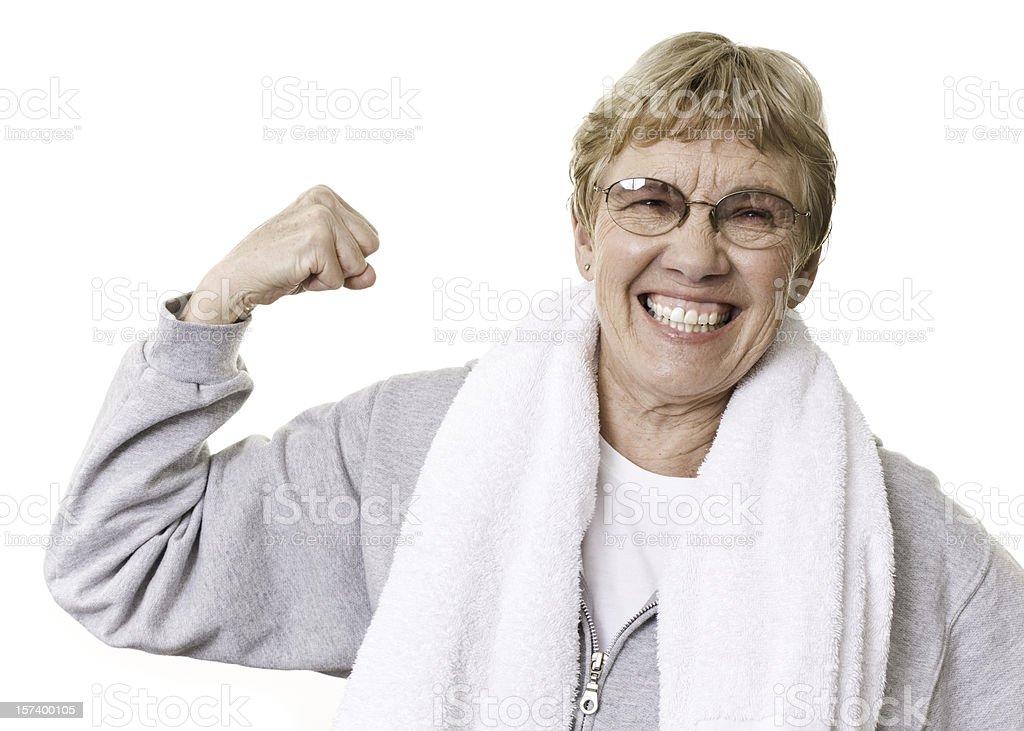 Active Senior Woman Flexing stock photo
