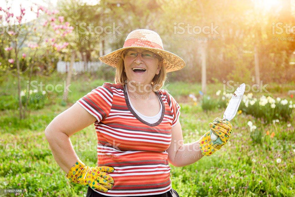 Active Senior Woman Gardening stock photo