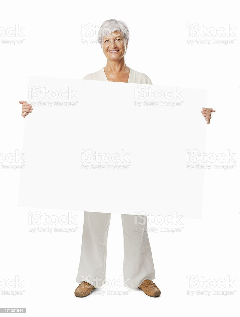 Active Senior Woman Holding a Blank Sign - Isolated stock photo
