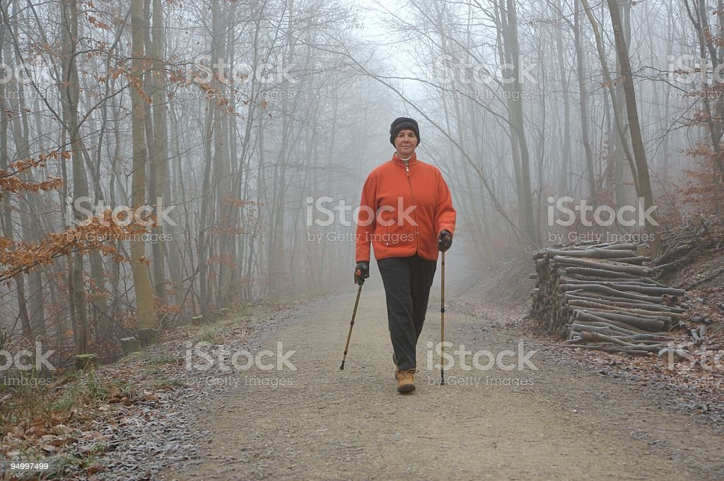 active senior woman while Nordic Walking in winter forest royalty-free stock photo