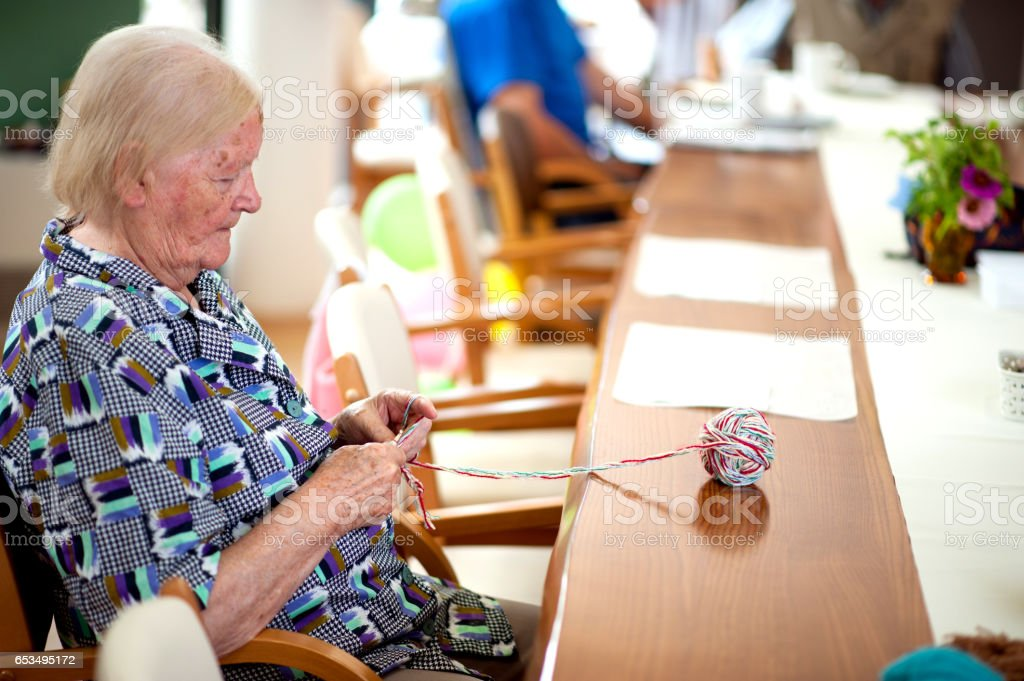 Active Seniors in an Elderly Daycare Center stock photo