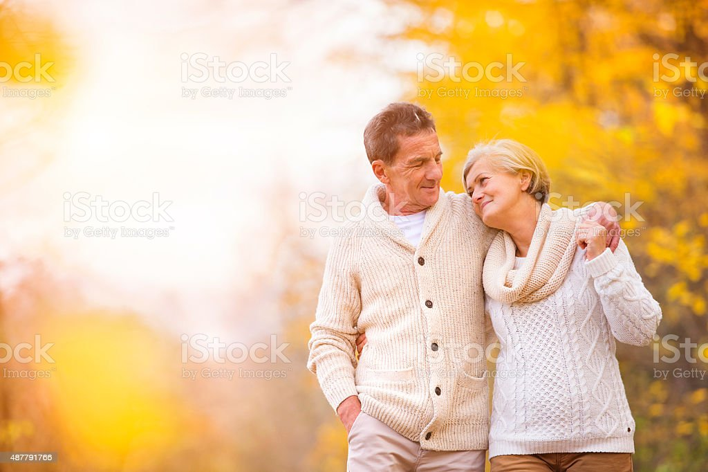 Active seniors in nature stock photo