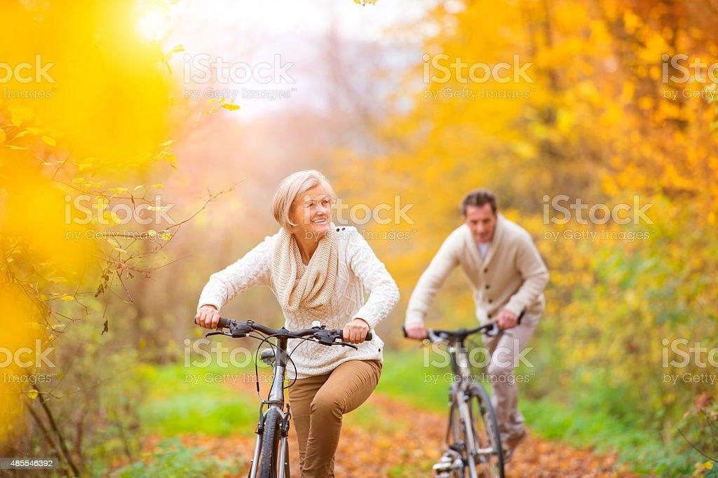Active seniors riding bikes stock photo