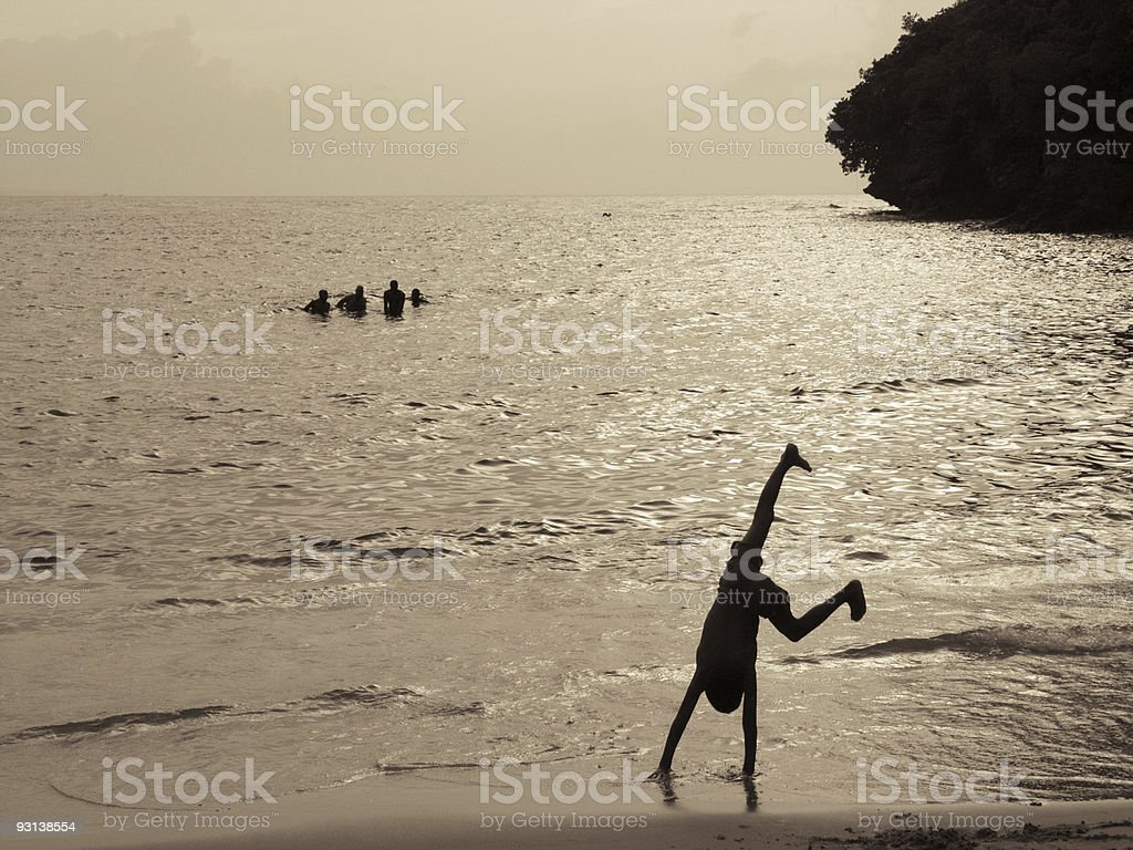 active silhouette on the beach royalty-free stock photo