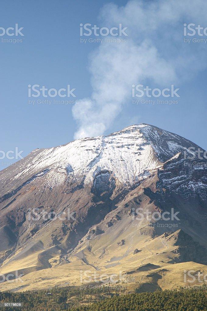 Active snowcapped Popocatepetl volcano royalty-free stock photo