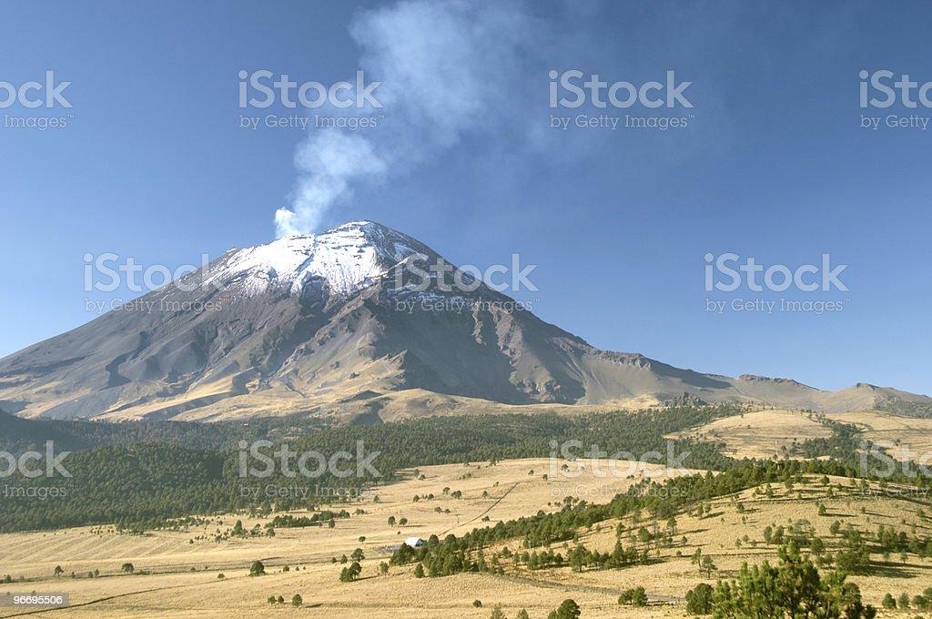 Active snowcapped Popocatepetl volcano stock photo