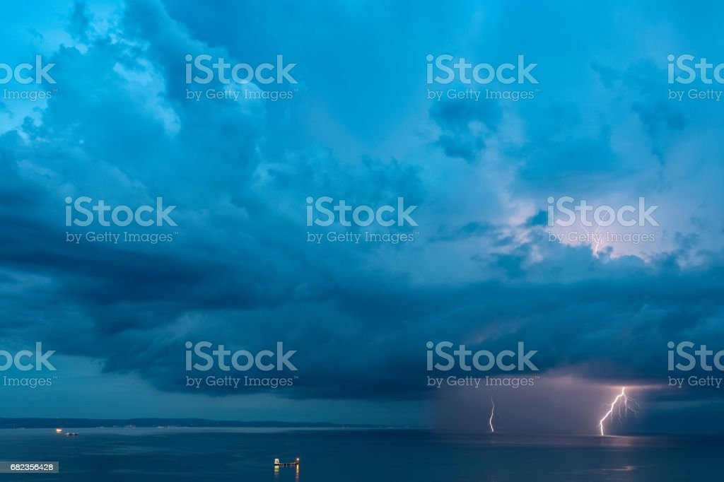 Active storm cell over the Adriatic sea stock photo