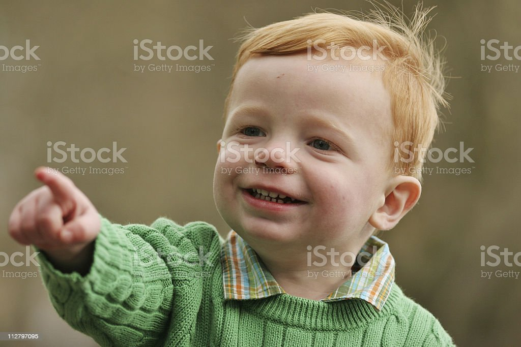 Active Toddler Pointing stock photo