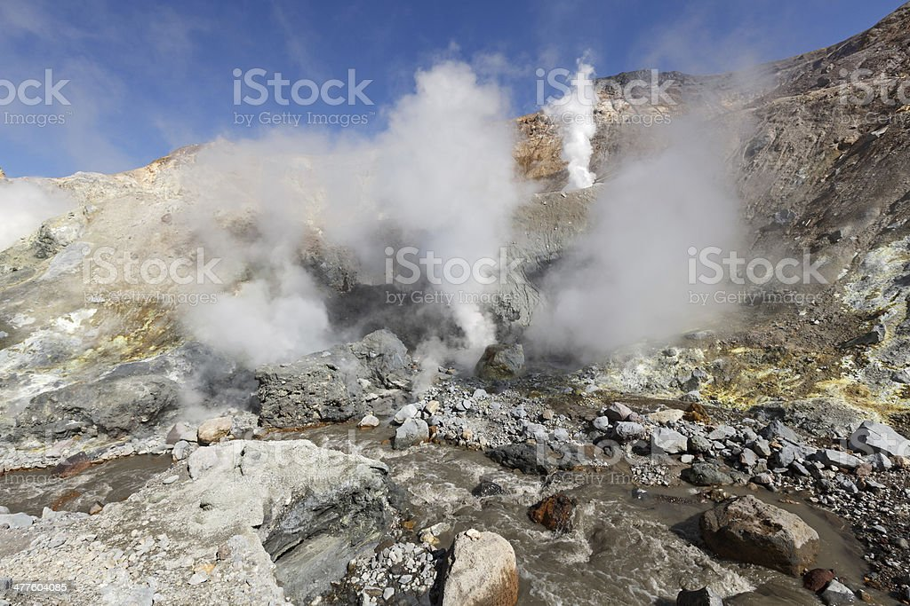 Active volcano of Kamchatka Peninsula royalty-free stock photo