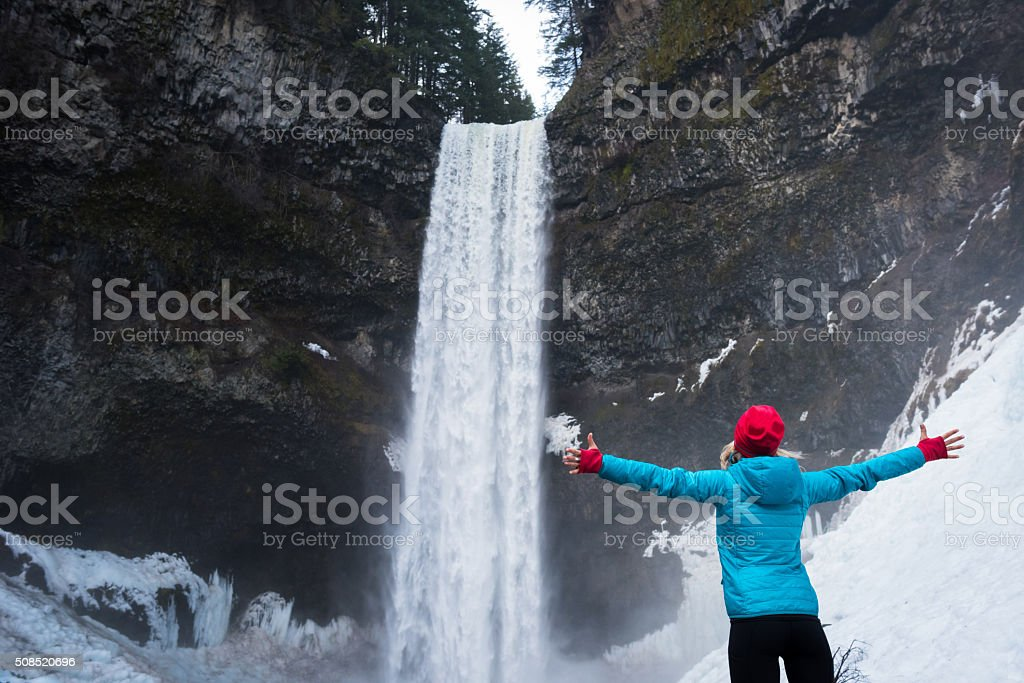 Active woman in the great outdoors stock photo