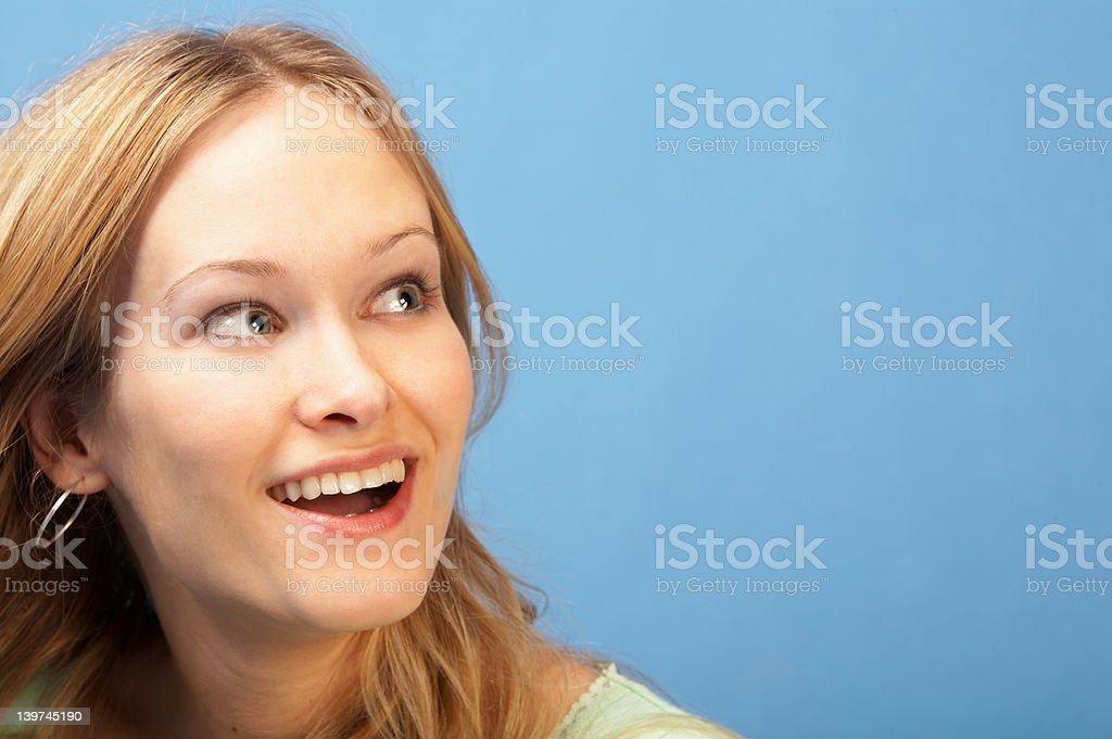 Active woman looking at cornor of frame royalty-free stock photo