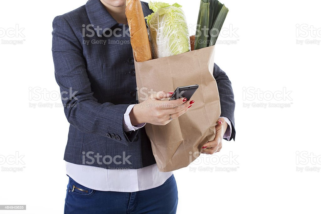 Active woman with phone and shopping stock photo