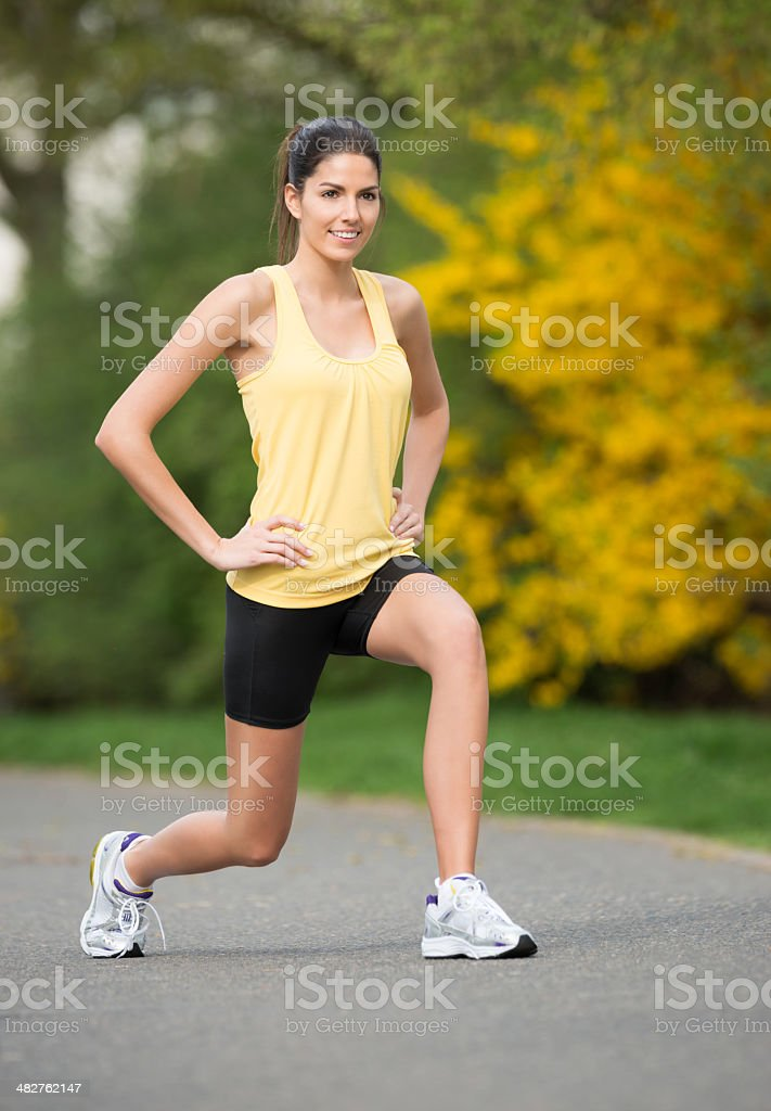 Active Woman working out, Lunges royalty-free stock photo