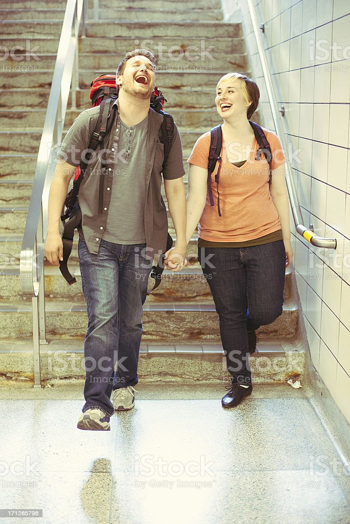 Active Young Backpacking Couple royalty-free stock photo