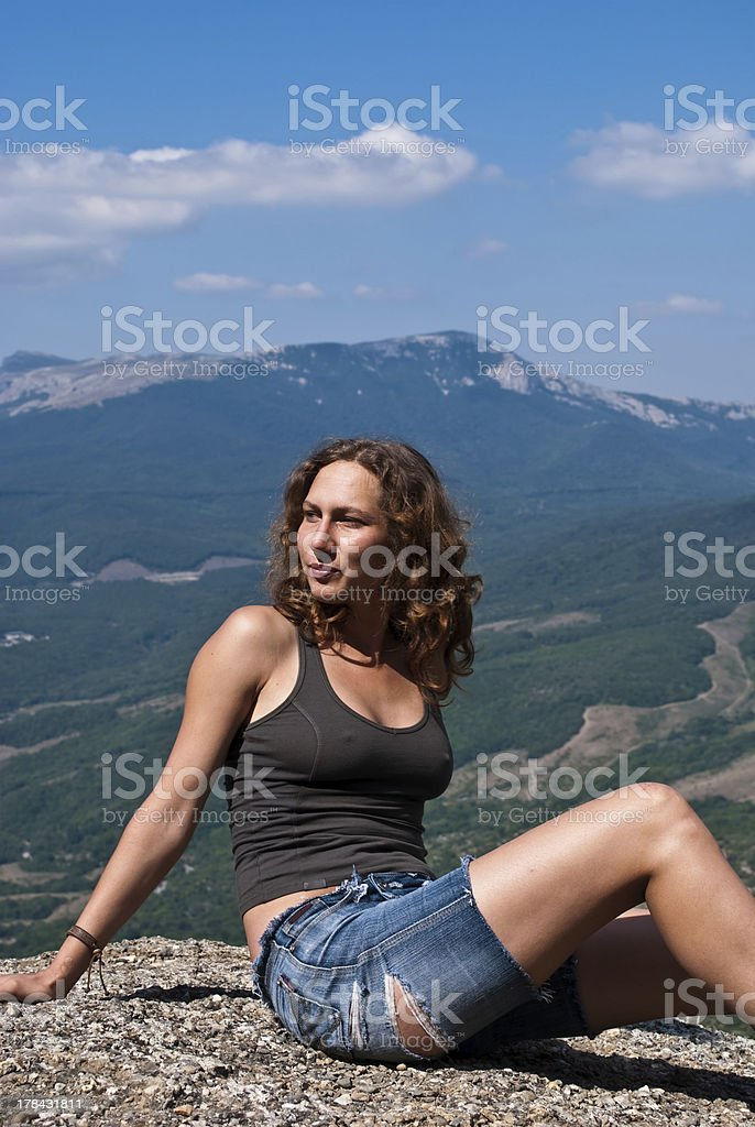 Active young girl stock photo