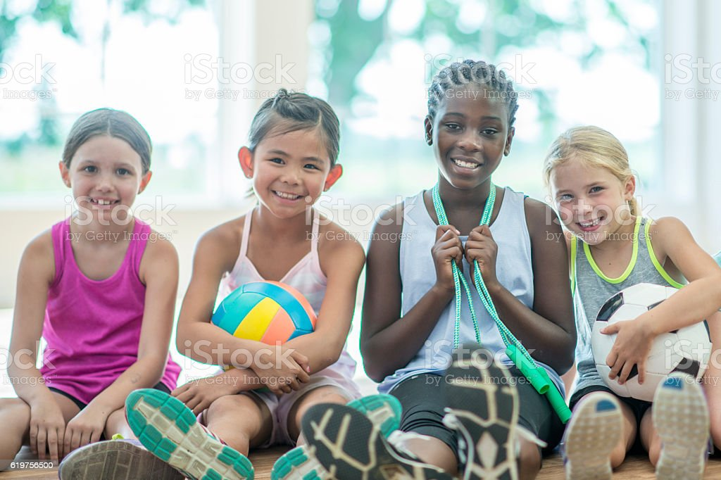 Active Young Girls stock photo