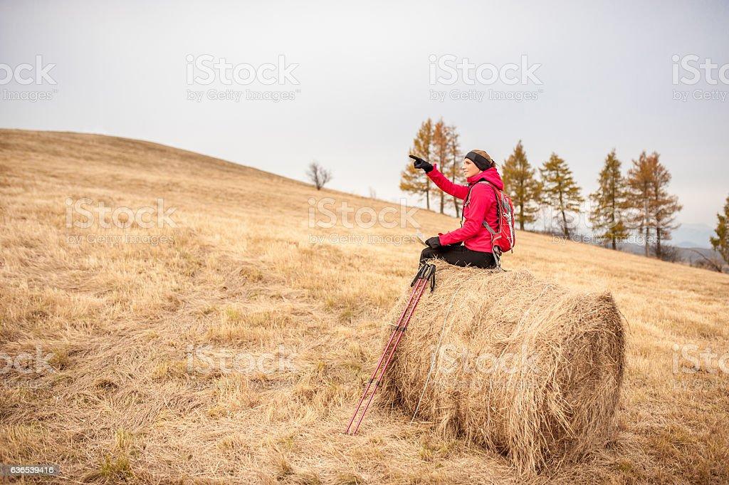 Active Young Woman Enjoying Autumn Nature stock photo