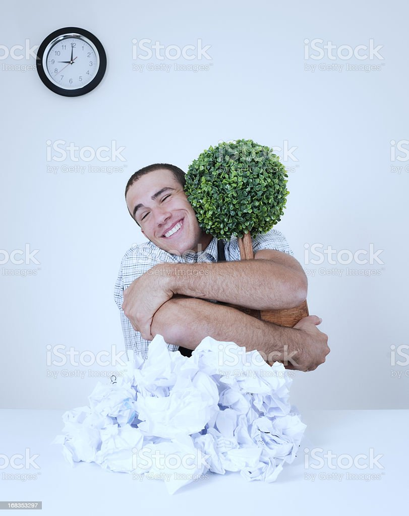 Activist Business Man, Saving Trees royalty-free stock photo