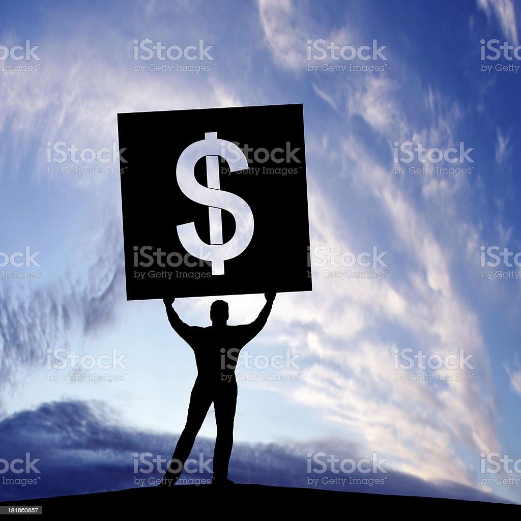 XXXL activist with dollar sign royalty-free stock photo