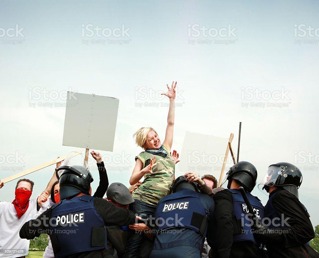 Activists fighting authority stock photo
