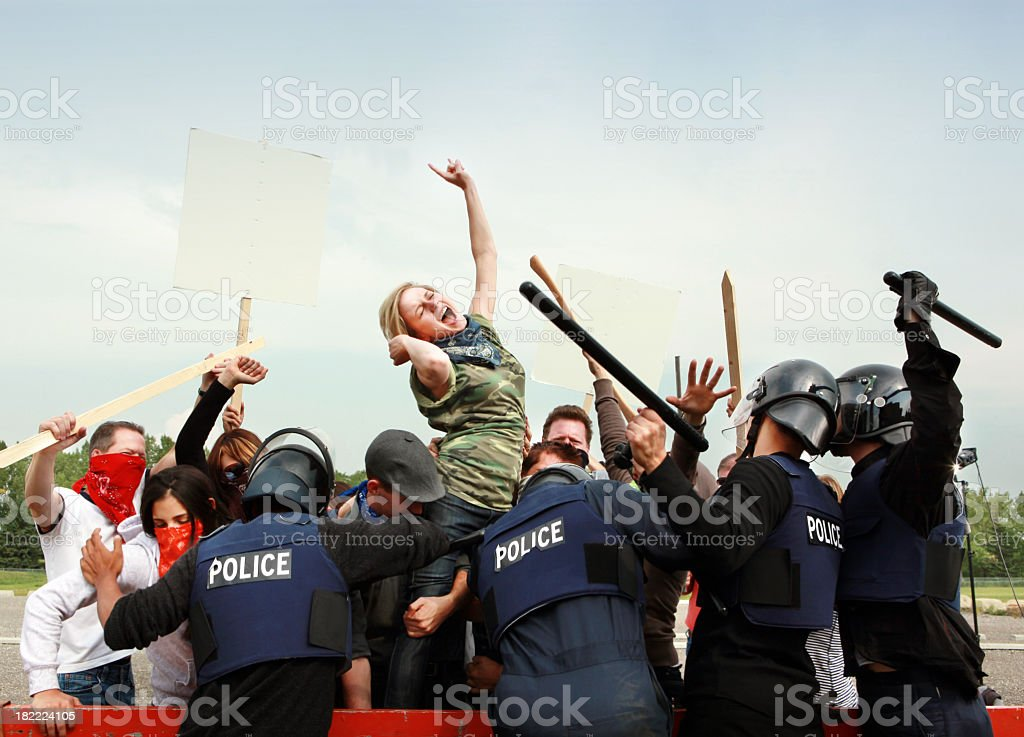 Activists fighting authority royalty-free stock photo
