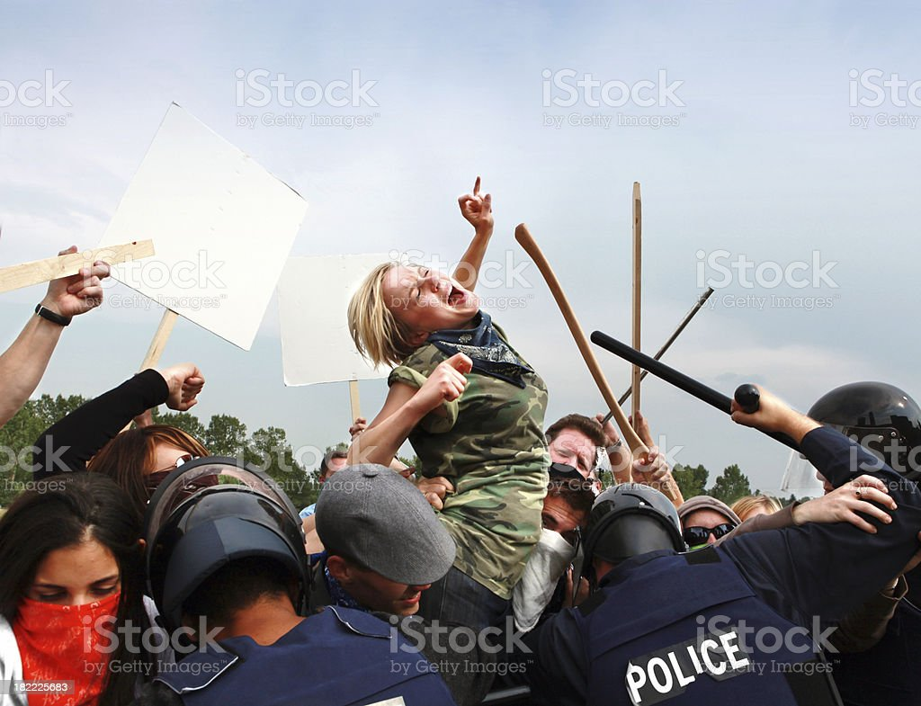 Activists fighting authority stock photo