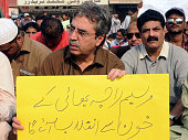 Activists of MQM protest against killing of fellow worker
